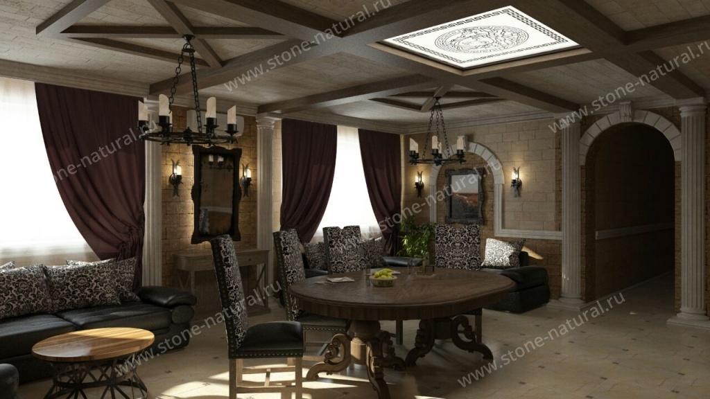 Внутренняя облицовка дома дагестанским камнем